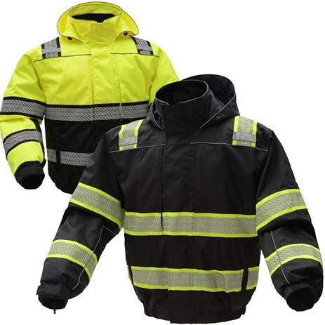 (3-N-1 Winter Bomber Jacket | Hi Viz Jackets | Hi Vis Removable Hoodie | For Men or Women (X-Large, Black))