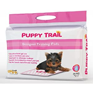 Puppy Trail Absorbent Core Designer Puppy Training Pads for Puppies and Dogs - Hearts and Crowns Design, Pink (25 Pack)