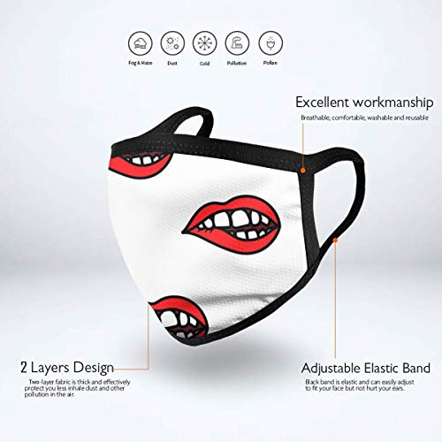 MAMIBAOYA Red Lips Biting Doodle Mouth Mask, Men and Women Mask Personality Print Anti-Pollen Mask Anti-dust and Anti-infective Polyester Face Mask Face-Fitting