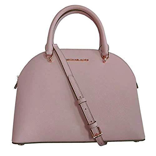 Michael Kors Emmy (Blossom) Dome Satchel Saffiano Leather Shoulder Bag Purse Handbag , Large