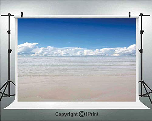 (Ocean Photography Backdrops Magical Sea to Sky View with Clouds Nature Exotic Beach in South Asia Paradise Hot,Birthday Party Background Customized Microfiber Photo Studio Props,5x3ft,Blue White Cream)