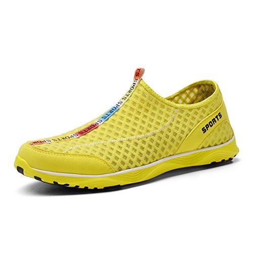Scurtain Mens Casial Sport Mesh Water Schoenen Outdoor Atletische Slip Op Lopen Sneakers Geel