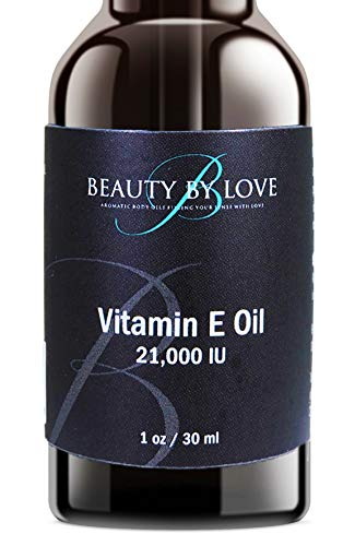 - Vitamin E Oil from Beauty by Love. Moisturizes Face and Skin. 100% Pure, 21,000 IU, Premium Grade, Antioxidants. Moisturizes Face and Skin. Reduce Appearance of Scars, Wrinkles, Dark Spots. (1 ounce)