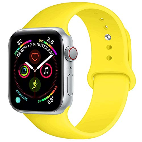 Sand Steel Cuff Bracelet Stainless (BOTOMALL Compatible With Iwatch Band 38mm 40mm 42mm 44mm Classic Silicone Sport Replacement Strap Bracelet for Iwatch all Models Series 4 Series 3 Series 2 Series 1 (pollen yellow,38/40mm S/M))