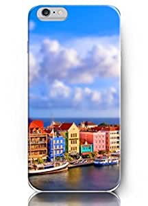 OUO New Unique Design Hard Cover for 5.5 Inch Iphone 6 Plus Case with Design of Houses on the Sea