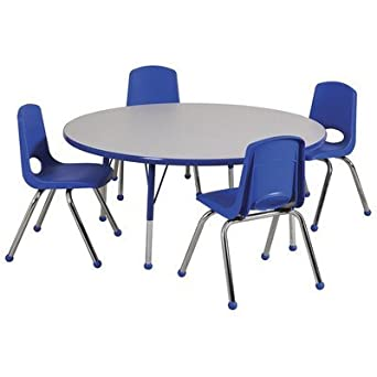 64cd5cbf44f9e ECR4KIDS ELR14115P4X16-GNVSS Round Activity Table with 4 16 quot  Stack  Chairs