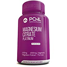 PacificCoast NutriLabs 500mg Magnesium Citrate, 1000mg Calcium, Free eBook, 120 Vegetarian Capsules