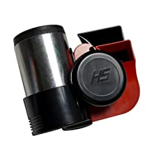RED Chrome Silver Black Extremely Loud Blast Euroblast 12V Volt Twin Air Horn for Motorcycle Car SUV Truck Universal (Made in Italy) 139db +
