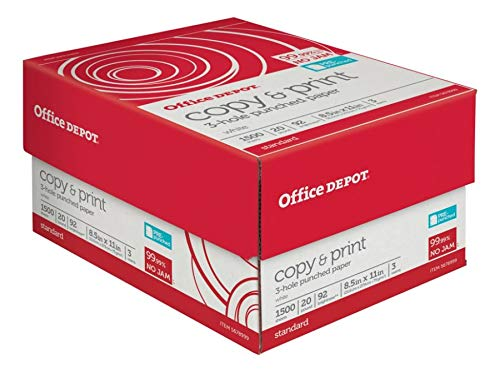 - Office Depot Brand 3-Hole Punched Copy & Print Paper, Letter Paper Size, 104 (US)/92 (Euro) Brightness, 20 Lb, White, 500 Sheets Per Ream, Case of 3 Reams