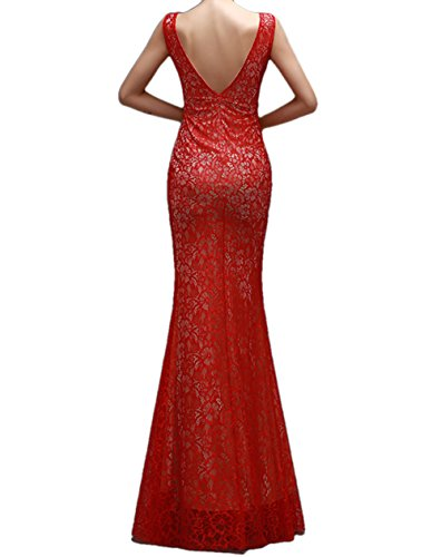 ALfany Elegant Women's Lace Floor Length Mermaid Formal Prom Dresses Evening Gowns ,Red US6
