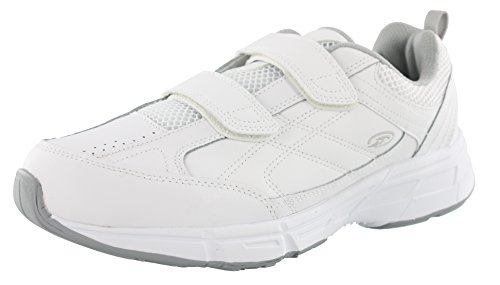 Dr. Scholl's - Men's Brisk Light Weight Dual Strap Sneaker , Wide Width (12 Wide, White Grey) (White Multi Strap)