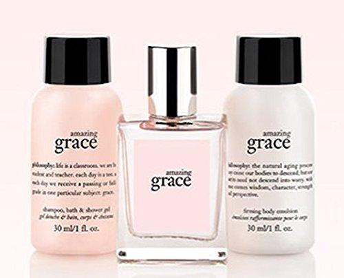 - Philosophy Amazing Grace Travel Gift Set - 1 oz Shampoo Bath & Shower Gel - 1 oz Firming Body Emulsion - 0.33 oz Fragrance