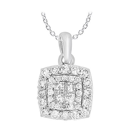 1/2 cttw 14k White Gold Princess & Round White Diamond Ladies Cluster Pendant Necklace 18'' Chain by eSparkle