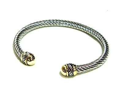 Amazoncom Designer Inspired Cable Bracelet Gold Jewelry