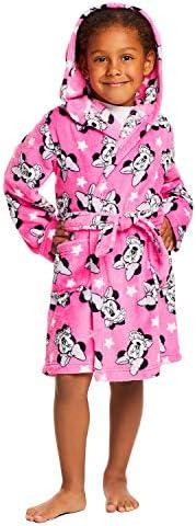 Girls Disney Minnie Mouse Sleep Robe - Girls Fleece Hooded Bathrobe-PARENT