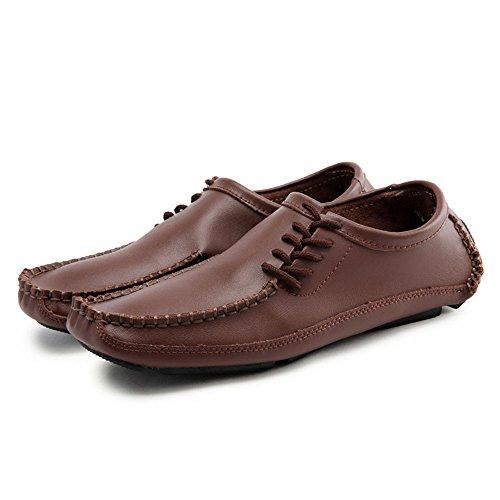 Marrón de Inferiores de Zapatos Cuero Hombres Ocio Blandos Zapatos para Zapatos 8vXZgww
