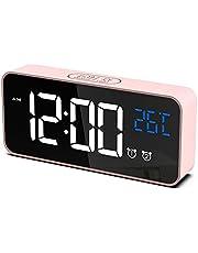 CHEREEKI Väckarklocka, Digital Klocka med Temperaturdisplay, Snooze, Batteridriven och USB-laddning med Dubbla Larm för Sovrum, Säng, Kontor Och Resor (Rosa)
