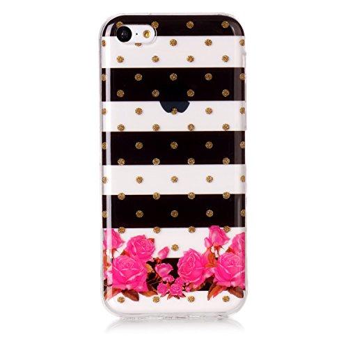 """Hülle iPhone 6 / 6S , LH Gestreifte Blumen TPU Weich Muschel Tasche Schutzhülle Silikon Handyhülle Schale Cover Case Gehäuse für Apple iPhone 6 / 6S 4.7"""""""