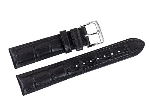 22mm Black Luxury Italian Leather Replacement Watch Straps/Bands Grosgrain for High-end Watches
