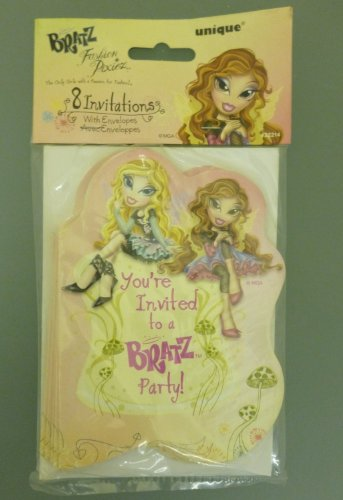 (SET OF 3 - 8 'You're Invited To A BRATZ Party!' Invitations With Envelopes (M... )
