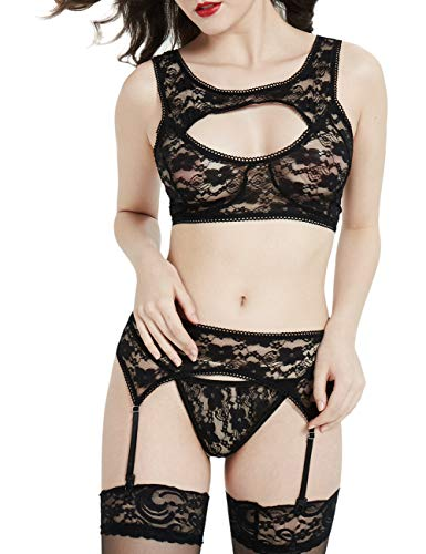 (Lovetide Wemons Lingerie Sexy,Boudoir Lingerie Black,Sexie Lingerie 4 Pieces with Lace Garter)