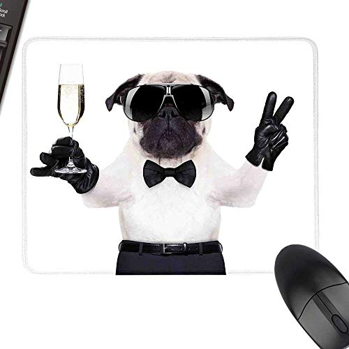 - Pug Extra Large Mouse Pad Pug with Champagne Glass and Peace Sign Cool Looking Dog Celebration Animal for Computers, Laptop, Office & Home 35.4