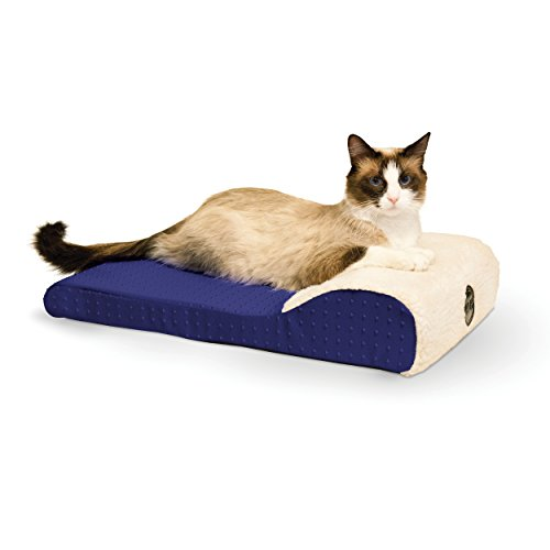 K&H Pet Products Ultra Memory Chaise Lounger Memory Foam Pet Bed Blue 14