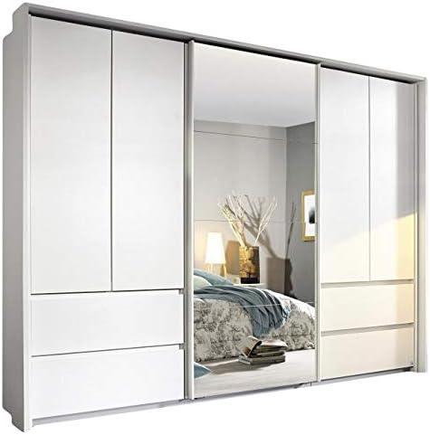 Armario con puertas correderas y giratorias, 5 puertas, 278 cm de ancho, color blanco: Amazon.es: Hogar