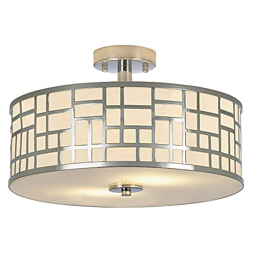 SOTTAE 2 Lights Elegant Modern Chrome Finish Glass Diffuser Livingroom Bedroom Flush Mount Ceiling Light,Led Ceiling Light Fixture(15.74