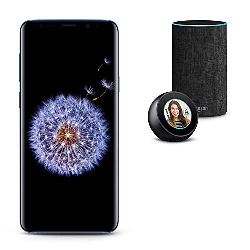 Samsung Galaxy S9 Unlocked Phone 256GB, Coral Blue with Echo Spot and Echo (2nd Generation) - Smart Speaker with Alexa