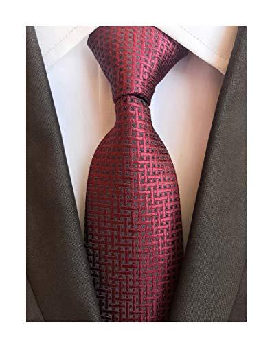 Men's Burgundy Red Silk Ties Maroon Daily Dress Meeting Novelty Pattern Neckties