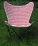Cabana Stripe Butterfly Chair Replacement Covers - Red with White Stripes