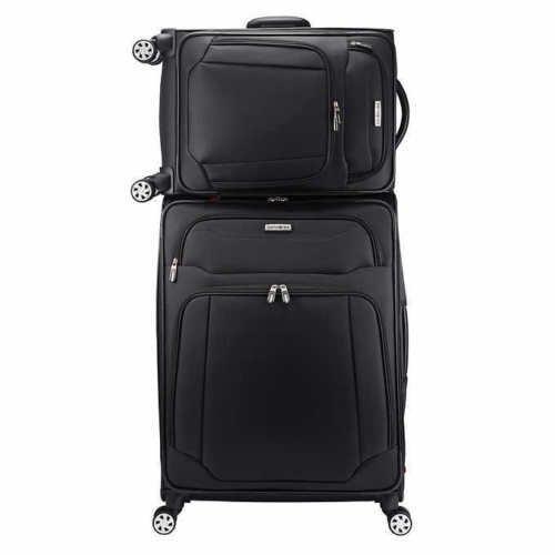 Samsonite StackIt 2-Piece Softside Spinner Luggage Set (Black) (Stacking Suitcase Set)