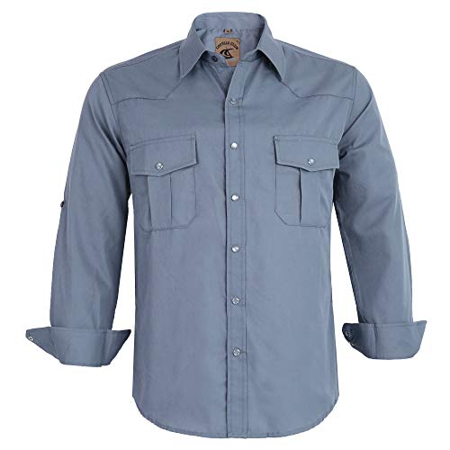 (Coevals Club Men's Button Down Solid Long Sleeve Work Casual Shirt (Light Gray #2, M))