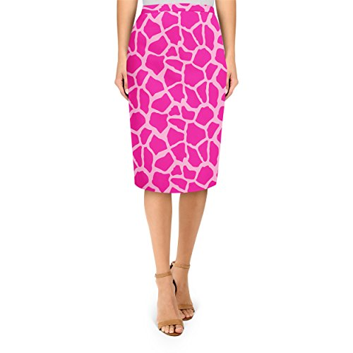 Queen of Cases Bright Giraffe Print Hot Pink - L - Midi Pencil Skirt ()