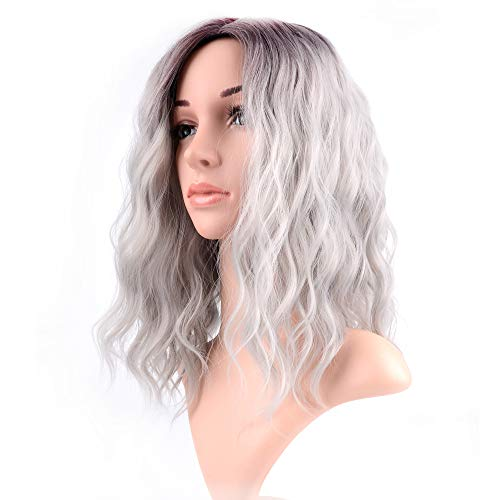 Curly Wave Wig Short bob Wigs Shoulder Length side part Women's Short Wig ombre color Synthetic Cosplay Wig Pastel Bob Wig for Girl Costume Wigs brown grey color -