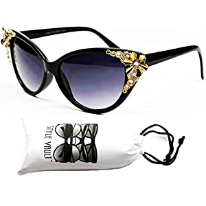 Wm528-vp Style Vault Unique Cateye Sunglasses (S2178V Black/gold-dark, uv400)