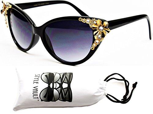 Wm528-vp Style Vault Unique Cateye Sunglasses (S2178V Black/gold-dark, - Gem Sunglasses