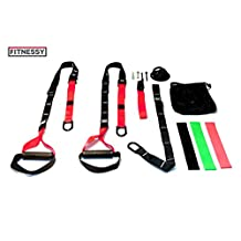 Bodyweight Resistance Straps Trainer Kit - Includes Training Straps, Wall Mount, 3 Loop Bands with Full Exercise Workout Guide. Premium Fitness Equipment for Home/Outdoors Workouts