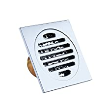 HOMEIDEAS SUS304 Stainless Steel Shower Floor Drain with Removable Cover Square Strainer,Polished Finish