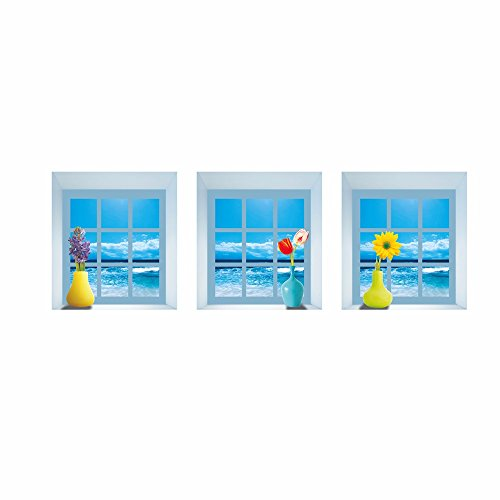 (LAONA 3D bedroom decoration wall sticker wall stickers simulation triptych (window vase) (29.7cm32.7cm3))