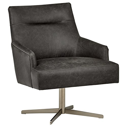 (Rivet Zane Mid-Century Modern Swivel Top-Grain Leather Accent Chair, 28.75