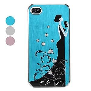 ZXM-Elegante modelo moderno muchacha estuche protector duro para iPhone 4 y (varios colores) 4s , Color Plata