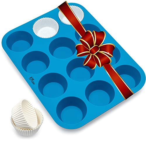 Silicone Muffin amp Cupcake Baking Pan 12 Cup  Free Paper Muffin Cups eBook  Non Stick BPA Free 100% Silicon amp Dishwasher Safe Bakeware Pans/Tin  Blue Kitchen Rubber Tray amp Mold for Keto Fat Bombs
