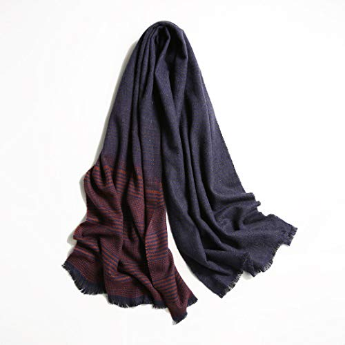 HUIFEI New Transition Gradient Plaid Scarf Autumn and Winter Korean Version of The Net Red Plaid Warm Scarf 55190cm (Color : Wine red)