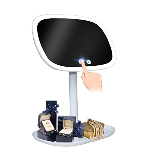 LED Lighted Vanity Makeup Mirror and Table Lamp, SHUKUNA Touch Control Illuminate Design, 360 Degree Free Rotation Table Countertop Cosmetic Bathroom Mirror, Dual power Supply Mode