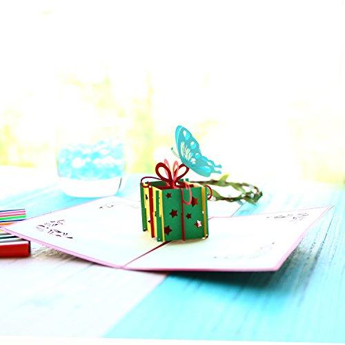 3d Popup Birthday Greeting Cards, Handmade Birthday Greeting Cards Gift Box Butterfly Design (Gift Box)