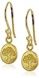 Satya Jewelry Gold Mini Tree of Life Disc Drop Earrings