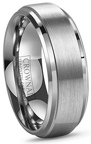 (6mm 8mm 10mm Tungsten Wedding Band Ring Men Women Polished Beveled Edge Matte Brushed Finish Center Comfort Fit Size 5 To 17 (8mm,10))