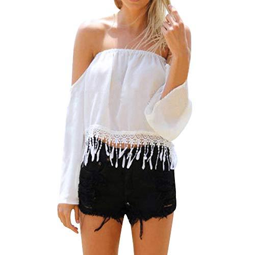 XUANOU Women's Chiffon Tassel Twill Neck Long Sleeve T-Shirt Top Ladies Off-Shoulder Slash Tops Blouse Embroidery Crop Tops